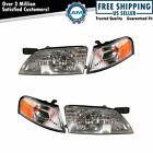 Headlights Headlamps & Parking Corner Lights LH & RH Pair Set for 98-99 Altima
