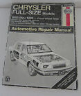 Chrysler Full Size Models 1988-1993 FWD Haynes Publications Repair Manual 25020