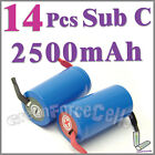 14 SubC Sub C 2500mAh NiCd Rechargeable Battery w/ tab