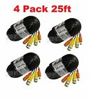 4 Pack 25ft CCTV Security Camera Male/Female DC Power Cable w/ BNC Male Plugs