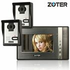 ZOTER 7 inch LCD TFT Monitor Video Door Bell Phone Intercom 600TVL 2x Camera Set