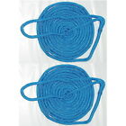 2 Pack of 1/2 Inch x 25 Ft Blue Double Braid Nylon Mooring and Docking Lines