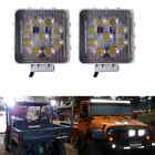 2x Square White 27W Spot LED Work Lights Driving Off-road For Jeep Boat Truck