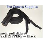 """35 YKK Zippers 60"""" Black #10 Metal Pull with Free Top Stops"""