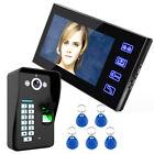 "US  7"" LCD Fingerprint Recognition Video Door Phone Intercom System IR Camera"