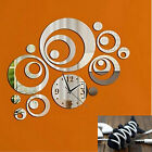 DIY Large Wall Clock 3D Mirror Surface Sticker Home Office Decor Silver+Gift