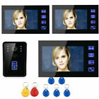 "7"" LCD Wired Video Intercom Door Phone System Doorbell Camera 3 Touch Monitors"