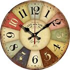 """Grazing 12"""" Vintage Rustic Country Tuscan Style Wooden Decor Round Wall Clock"""