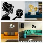 Creative Living Room 3D DIY Mirror Girl Sticking Wall Clock Home Room Decor TW