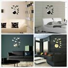 Home Sofa Backdrop Art Decor Wall Clock Butterfly DIY 3D Mirror Stickers TW