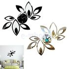 3D Clock Flower Lotus DIY Mirror Wall Sticker Backdrop Home Room Decoration TW