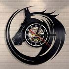 "12"" Modern Wall Clock 3D Large Vinyl Record Horse Head Art Home Decor Great Gift"