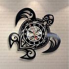 "Turtle Wall Clock 3D Creative Art Design Vinyl Home Bedroom Decoration Black 12"""