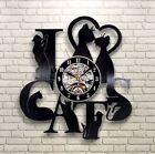 """Cute Cats 3D Vinyl Wall Clock Black Record Home Bedroom Wall Art Decoration 12"""""""