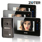 "ZOTER 7"" LCD Touch Key Video Door Bell Phone Hands Free Gate Intercom 3x Monitor"