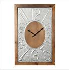 Vintage Rustic Rectangle Wall Clock Galvanized Grey Metal Wooden Art Decor