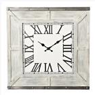 Barnwood Square Wall Clock in Rustic Whitewash Wood Roman Numeral Art Decor