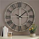 Large Vintage Roman Numeral Wall Clock Rustic Distressed Cream Metal Decor