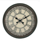 Antique Round Wall Clock Vintage Brown Frame Large Roman Numeral Home Art Decor