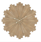 Rustic Large Round Wall Clock Modern Sunburst Style Natural Wood Home Art Decor
