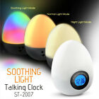 Bedside Travel Snooze Alarm Clock Thermometer Color Light Talking Office