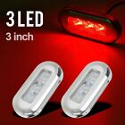 """2x 3"""" Clear/Red Waterproof LED Oblong Courtesy Light Garden Accent Deck Lamp"""