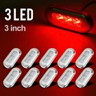 """10x 3"""" Clear/Red LED Oblong Courtesy Light Garden Accent Deck Lamp Polished"""