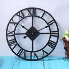 Black Vintage Iron Wall Clock Home Decor Roman Numerals and Quartz Wall Clocks
