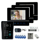 "7"" Video Door Phone DoorBell Intercom System with 3 Monitors and Magnetic Lock"