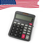 US Truly 12Digits 833-12 Desk-Top Calculator Power Switch Office Home Dual Power