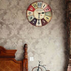 30CM Vintage Wooden Wall Clock Shabby Chic Rustic Kitchen Home Antique Decor
