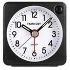 FAMICOZY Mini Size Alarm Clock, Quiet Non Ticking Travel Clock with Snooze...