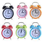 "3"" Metal Double Twin Bell Mechanical Alarm Clock Bedside Night Light Clock"