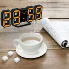Large 3D LED Wall Clock Alarm Clock Snooze Function 12/24 Hour Black+Orange