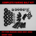 Complete Screws Black Fairing Bolt Kit fit for SUZUKI GSXR 1000 2000 2001 2002