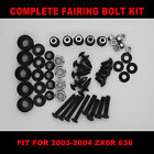 Complete Screws Black Fairing Bolt Kit fit for  ZX6R 636 2003 2004 USA SHIPPING!
