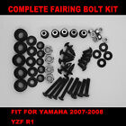 Complete Screws Black Fairing Bolt Kit fit for YAMAHA YZF R1 2007-2008 USA SHIP!