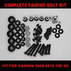 Black Complete Fairing Bolt Kit Screws fit for YAMAHA  YZF R6 2008-2015 USA SHIP