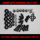 USA SHIP! Complete Screws Black Fairing Bolt Kit fit for YAMAHA YZF R1 2002 2003