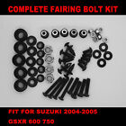 Complete Screws Black Fairing Bolt Kit fit for SUZUKI GSXR 600 750 2004 2005