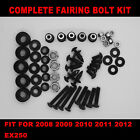 Complete Screws Black Fairing Bolt Kit fit for EX250R 2008 2009 2010 2011 2012