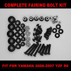Complete Screws Black Fairing Bolt Kit fit for YAMAHA YZF R6 2006-2007 USA SHIP!