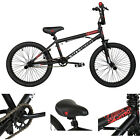 "Boys Freestyle Bmx Bike Black Steel Frame Foot Pegs Bicycle 20"" Inch Stunts"