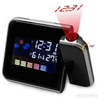 Alarm Clock Projection Digital Weather LCD Snooze Color Display LED Backlight