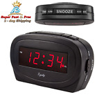 """Basic Bedside Large Red LED Alarm Clock AC Powered With Battery Backup 7"""" 4 Pack"""