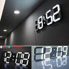 Modern Digital 3D White USB LED Wall Clock Alarm Clock Snooze Hour Display Decor