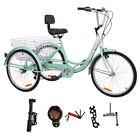 "Cyan Shimano Adult 24""3-Wheel 7-Speed Tricycle Trike Bicycle Bike With Basket"