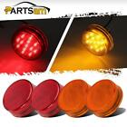 """4x New 2.5"""" Side Marker Clearance AMBER/Red light 13 LEDs in Stripe Repeaters"""