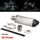 38-51mm Black & White Universal Motorcycle Refit Exhaust Muffler H5J9