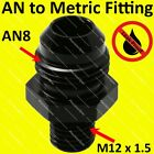 AN8 8AN Aluminium Straight Male Flare to M12x1.5 Metric Fitting Adapter - Black